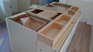 How to build and make a double sided kitchen island from wall cabinets | Diy Kitchen island ideas