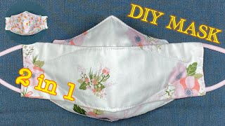 DIY 3D Face Mask 3 Layers 2 in1 Easy Pattern Sewing Tutorial Breathable Face Mask