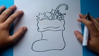 Como dibujar un calcetin de navidad paso a paso | How to draw a sock Christmas