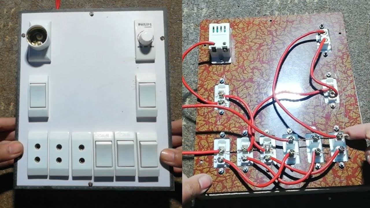 How To Make An Electric Extension Box Board Or How To Fitting Switch And Shorket In Electric Board By Akash Tech