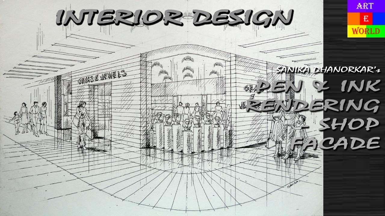 40 Pen Amp Ink Manual Rendering 2 Point Interior Design
