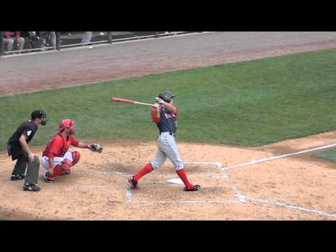 RedSox Prospect Garin Cecchini Batting vs Senators 8/18/13 HD