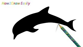 dolphin silhouette easy draw drawing step drawings getdrawings