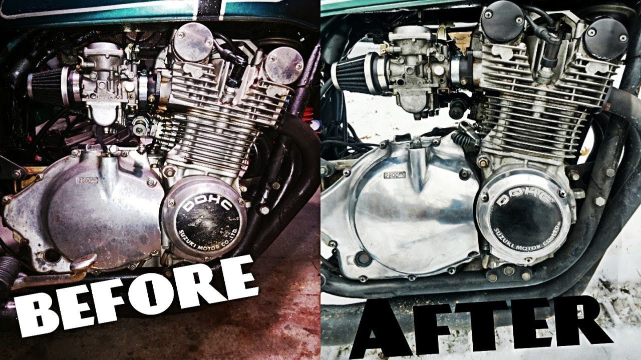 How To Polish Your Dirty Old Motorcycle Engine Youtube