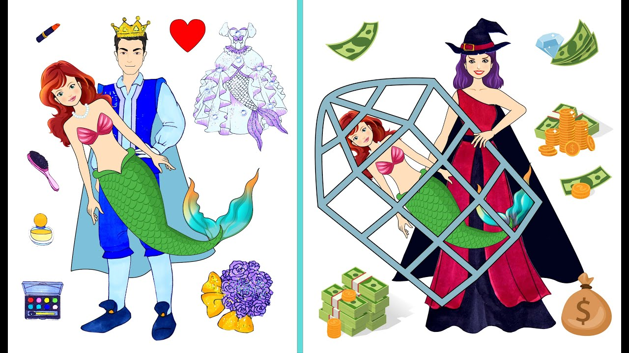 [DIY] Paper Dolls Mermaid Captured in the Cage by Witch ! Beautiful Dresses Handmade Papercrafts