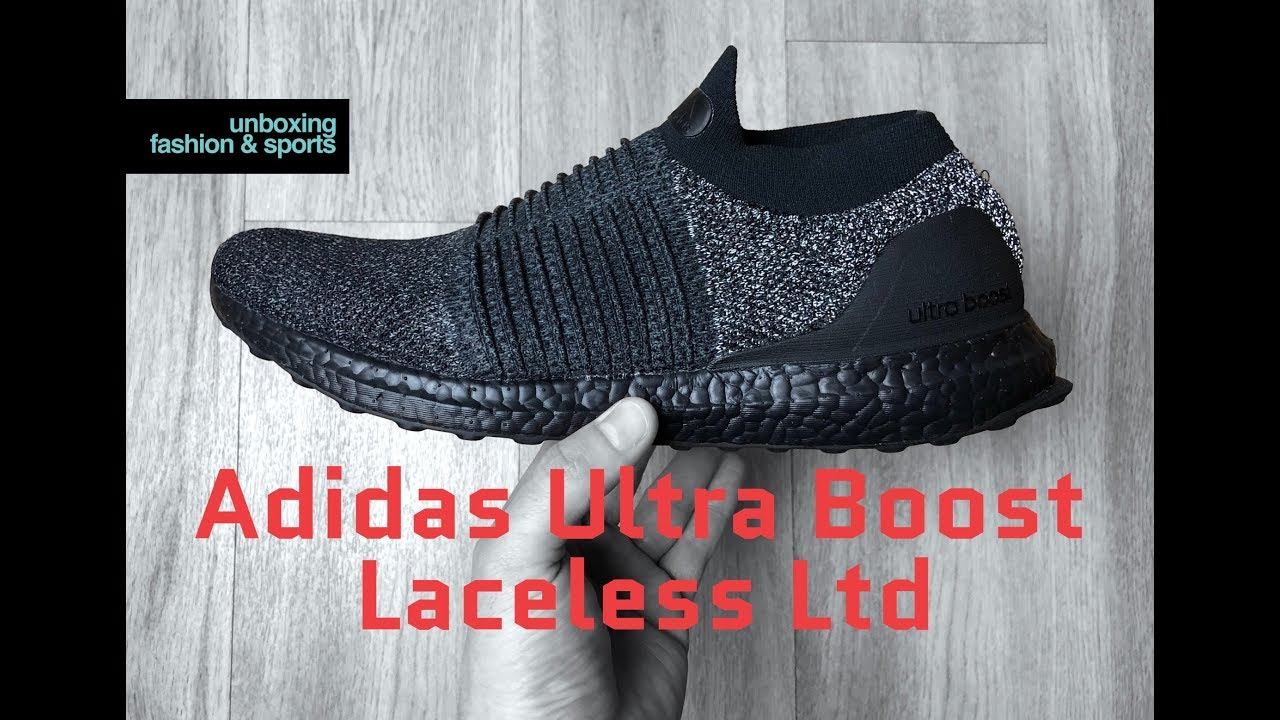 the latest 196ad f6cf1 Adidas Ultra Boost Laceless Ltd 'Triple Black' | UNBOXING & ON FEET |  fashion shoes | 2018 | 4K