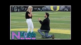 Sports producer pops the question at the 50-yard line in Autzen Stadium in Oregon