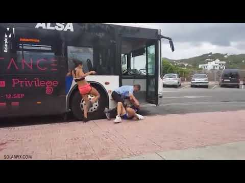 A Bus driver fights with a couple in Ibiza , Spain - Full