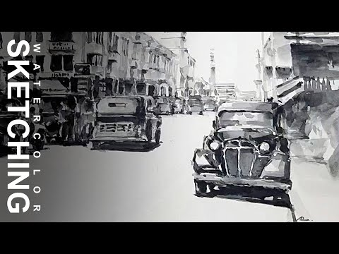 Landscape painting easy, watercolor painting using brush sketching, Old Braga Bandung – Indonesia