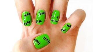 Легкий маникюр на Хэллоуин - Скелет на ногтях