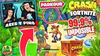 PARKOUR CRASH BANDICOOT 99.9% IMPOSIBLE EN FORTNITE!!! PINO & ARES