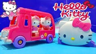 Hello Kitty Vellutata School Bus & Silly Slider Playset Toys ★ Hello Kitty Autobús Escolar Juguete