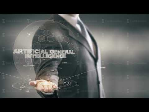 Artificial General Intelligence with hologram businessman concept