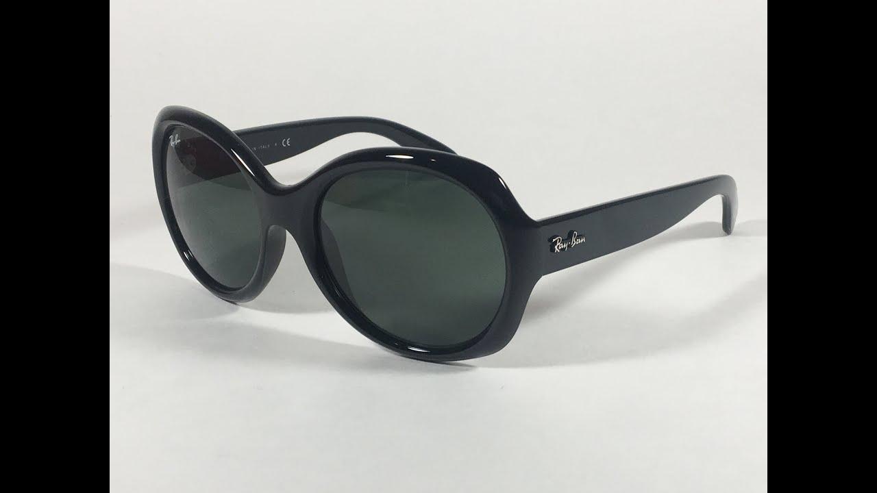 73845e73ee Ray-Ban Highstreet Round Sunglasses Black Gloss Nylon Frame Green Lens  RB4191 601 71