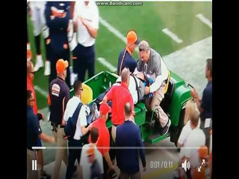 Wade Phillips Injury - Wade Phillips Stretchered off the field after hit Chargers vs Broncos