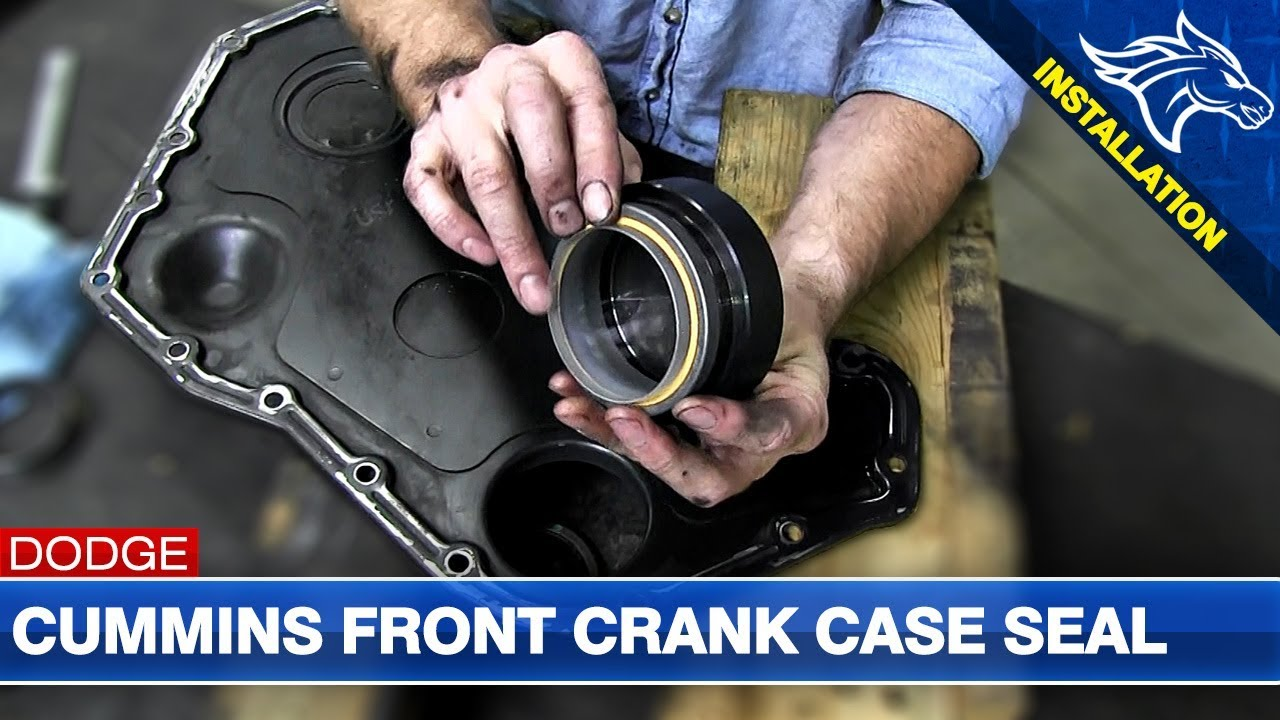front crank case seal install 5 9l 6 7l dodge cummins thoroughbred diesel [ 1280 x 720 Pixel ]