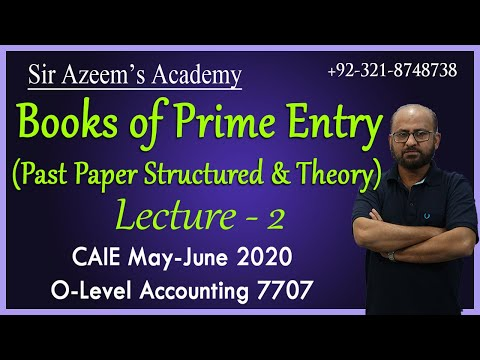 Books of Prime Entry - Past Paper Structured & Theory