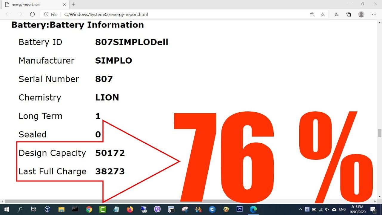 Check your Laptop Battery - Báo cáo tình trạng Pin trong Windows