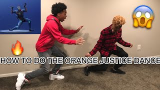 TEACHING MY BROTHER THE FORTNITE ORANGE JUSTICE DANCE | ROY PURDY