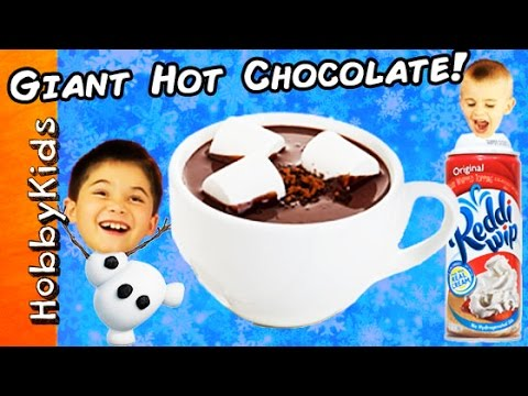 World's Biggest HOT CHOCOLATE Surprise Egg! TOYS + Make a HUGE Hot Cocoa by HobbyKidsTV