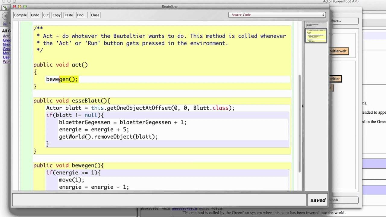 Greenfoot Java Tutorial 4 - Steuerung des Beuteltiers