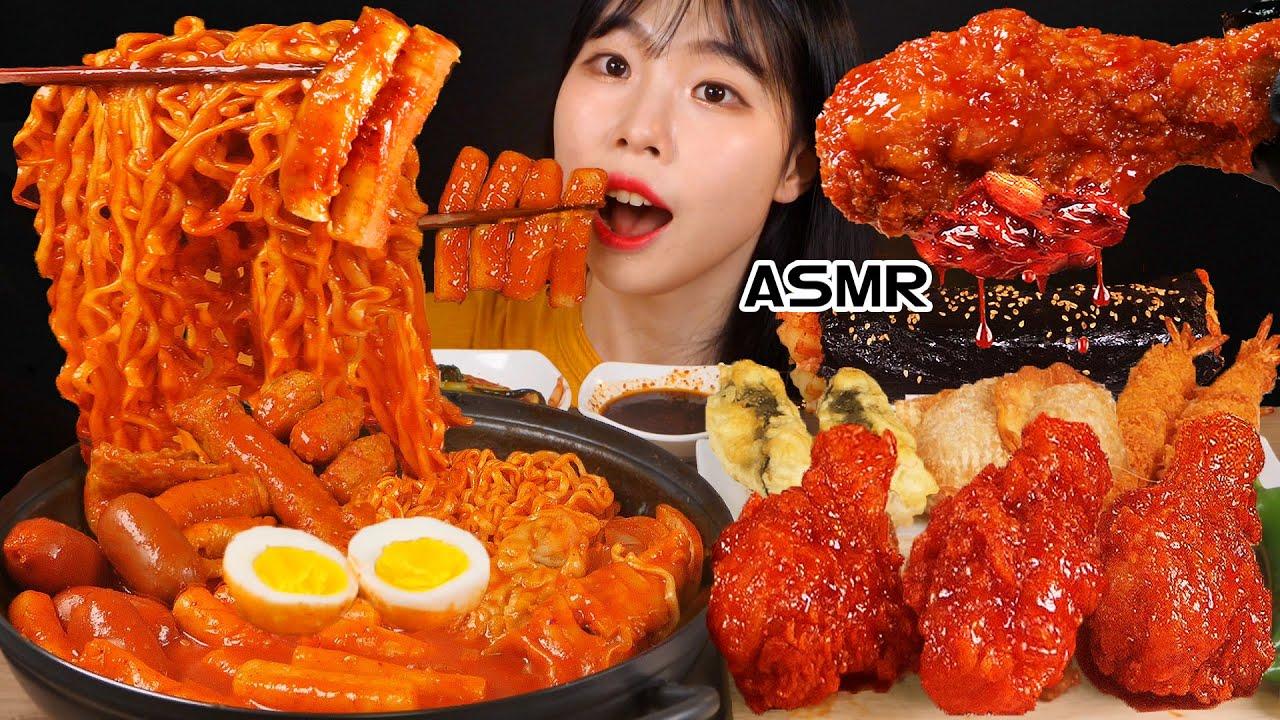 ASMR MUKBANG| 직접 만든 떡볶이 양념치킨 김밥 먹방 & 레시피 FRIED ...
