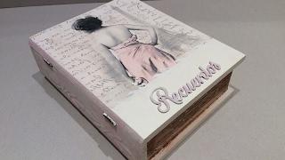 Caja libro vintage decorada con decoupage-conideade