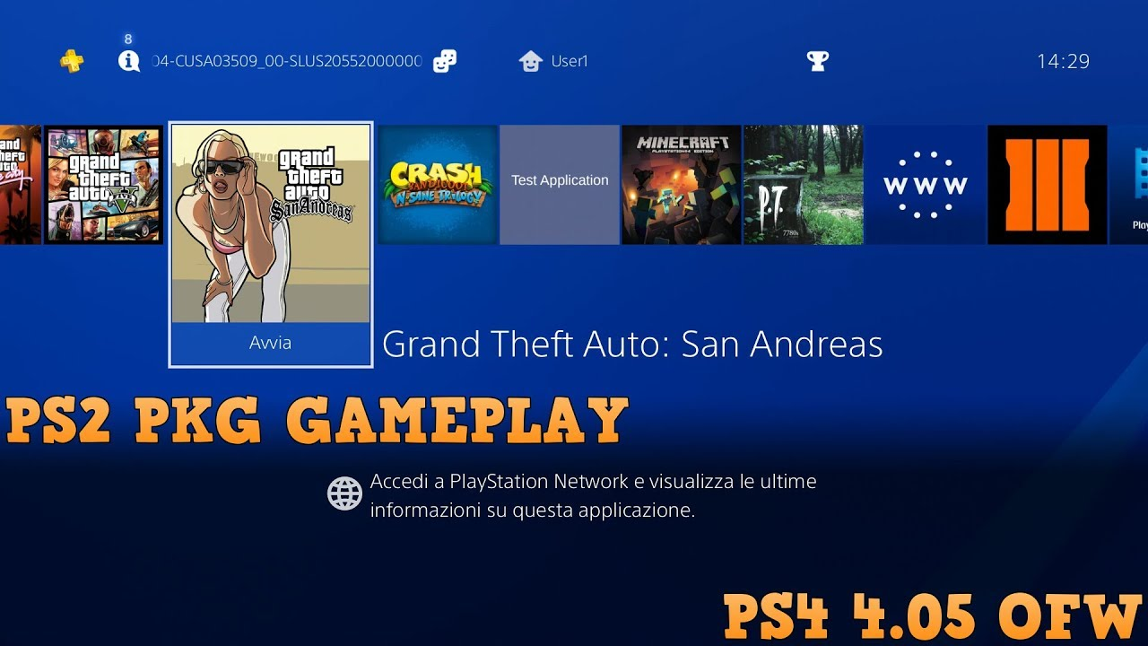 Playing PS2 GTA San Andreas on 4 05 ps4 (Ps4 pkg)