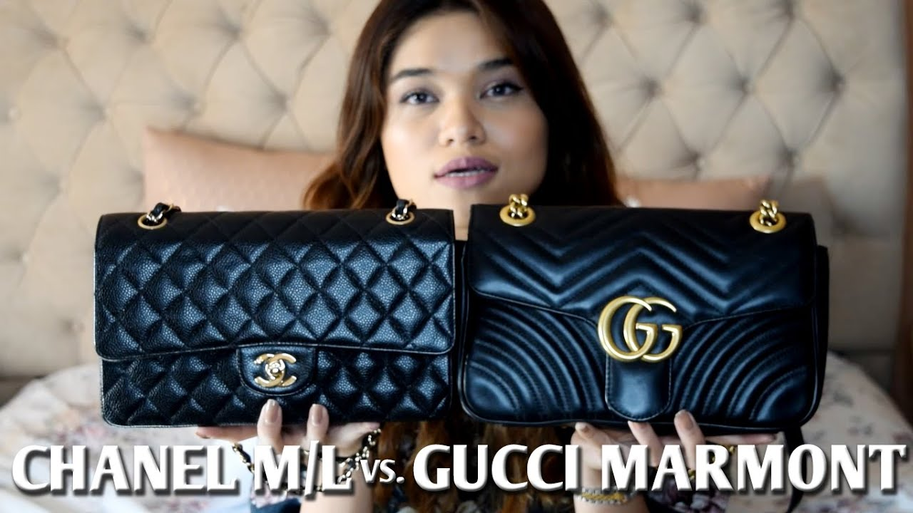 b4dbb5fd314 CHANEL M L FLAP vs. GUCCI MARMONT FLAP COMPARISION REVIEW - YouTube