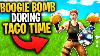 What Happens When You Get BOOGIE BOMBED DURING TACO TIME In Greasy Grove? | Fortnite Mythbusters
