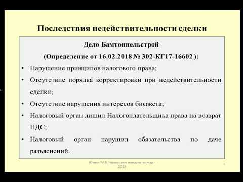 НДС при недействительности сделки / VAT In Case Of Invalidity Of The Transaction