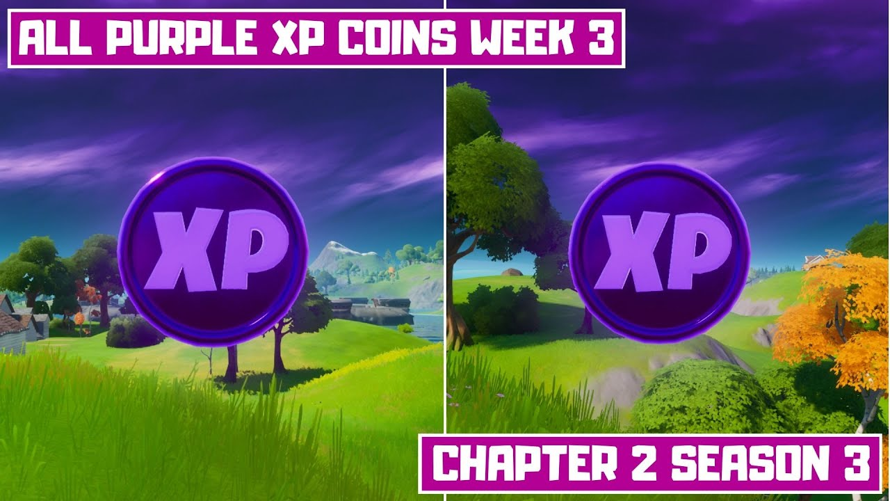 All 2 Purple XP Coins Locations Week 3!   Secret XP Coins Fortnite Chapter 2 Season 3
