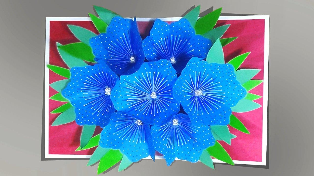 Открытка внутри букет цветов оригами, днем святого валентина