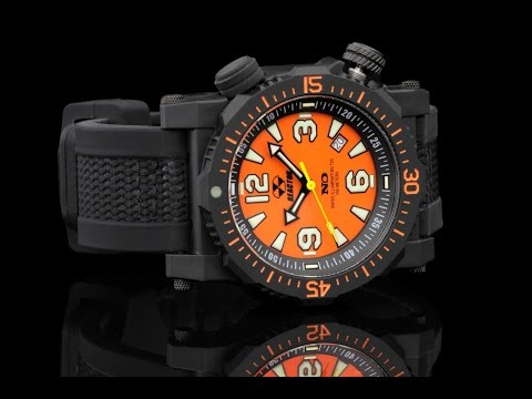 Reactor 43808 Titan 45.5 mm Orange Dial Strap Watch with Never Dark Technology