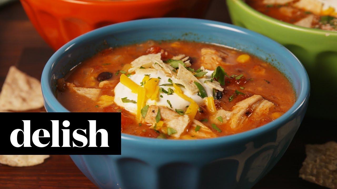 Crock Pot Chicken Enchilada Soup Delish Youtube