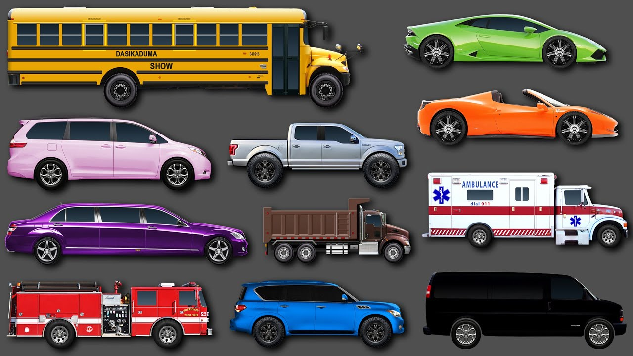 Learn Colors For Children. Learning Street Vehicles Names