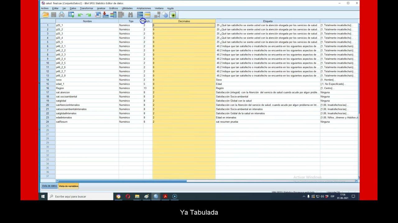 Tutorial SPSS:Explorar y graficar los   primeros datos y variables,en  una encuesta tabulada.