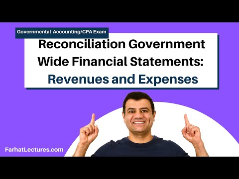 Reconciliation to government wide financial statements revenues and expenses CPA exam FAR p3