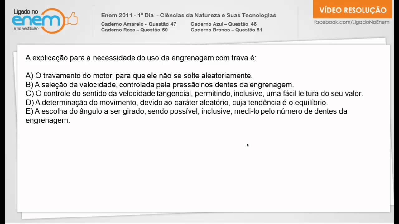 afbfdefa51f Enem 2011 - Física - Questão 47 - YouTube