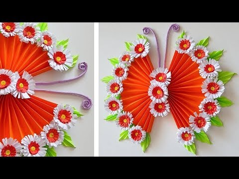 DIY PAPER BUTTERFLY WALL HANGING | WALL DECOR IDEA | Paper ... on Hanging Wall Sconces For Flowers id=61531