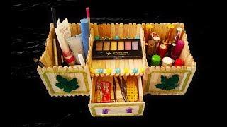 DIY, How To Make a Makeup Box Organizer At Home, Makeup Box diy, Popsicle Stick Diy,