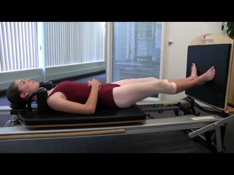 PILATES BALLET 1214:  Pilates Supine Plie on Reformer   Side View HD 720p