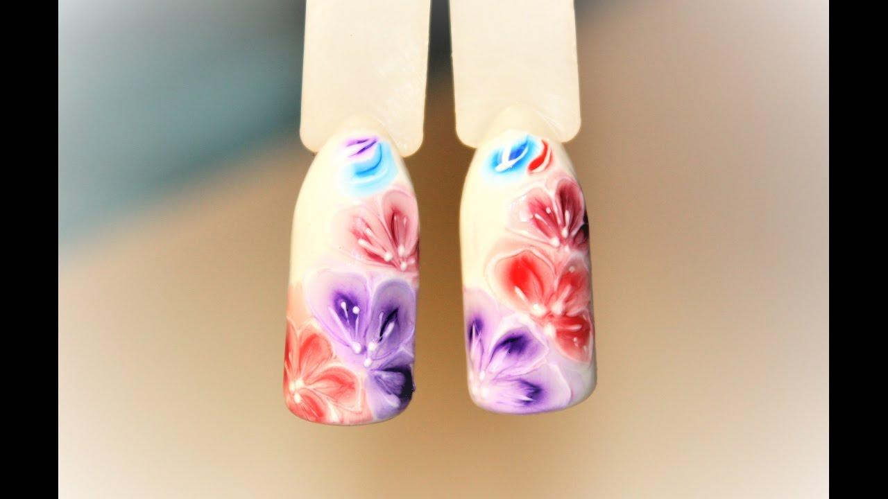Hd дизайн по мокрому гель лаку/ розы по мокрому nails design рисунки на ногтях для начинающих nika hand nails.