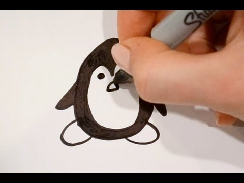 how to draw a cartoon penguin v2