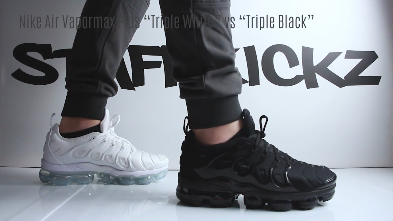c50777b46f908 Nike Air Vapormax Plus Triple White vs Triple Black - On Feet Comparison