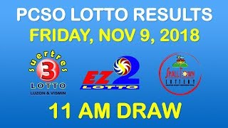 Lotto Result November 9 2018 11 AM Draw PCSO