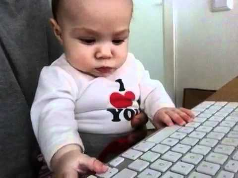 Baby Typing On Computer Keyboard Youtube