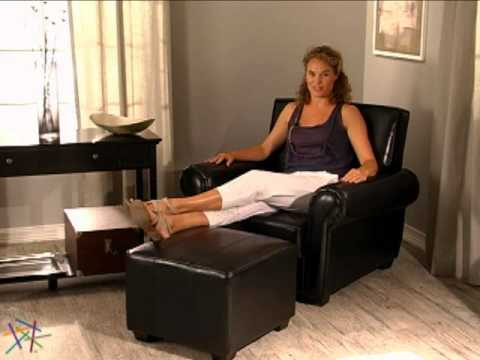 paris leather club chair and ottoman brown product review video - Brown Leather Club Chair