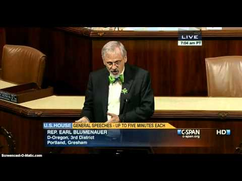 Rep Earl Blumenauer Urges Oregon to be National Industrial Hemp Leader