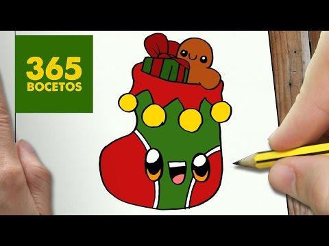 Como Dibujar Calcetin Navidad Kawaii Paso A Paso Dibujos Kawaii